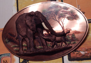 Copper Elephant Wall Art Hand Made: Roots Cabinets & Tile