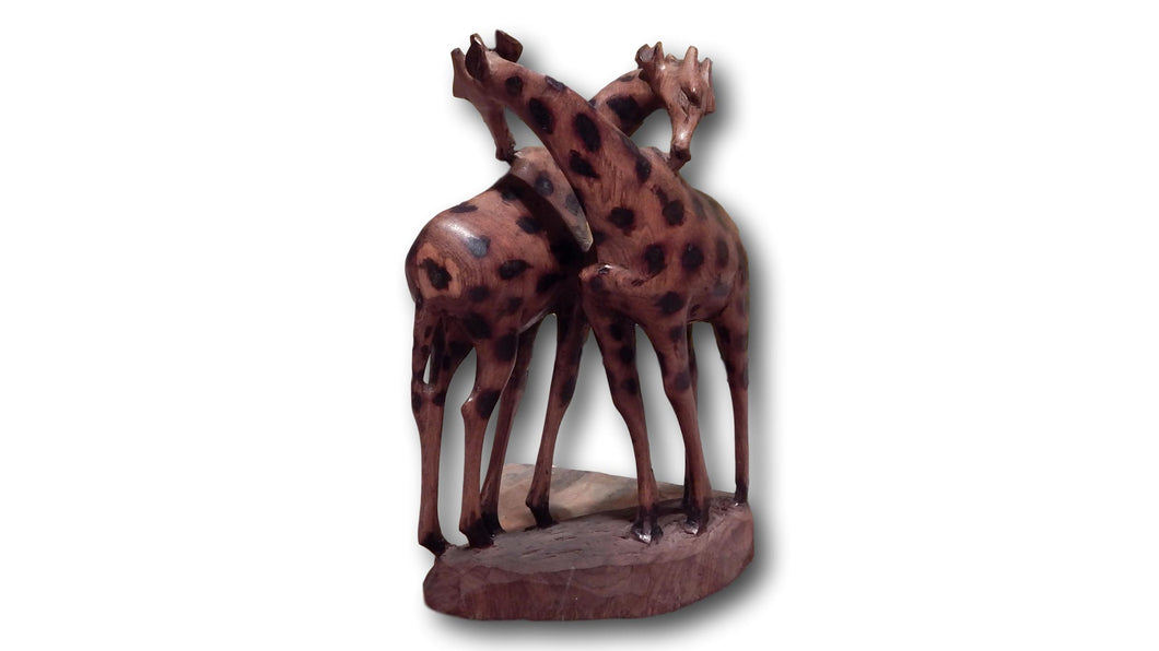 Giraffe lovers handcrafted from Seringa wood