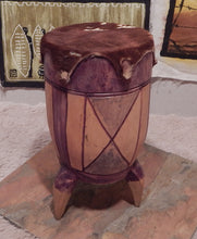 Tribal drum wood carving handcrafted from Seringa wood