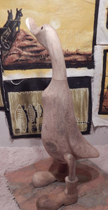 Carved wood Duck figure in Boots | At Roots Cabinets & Tile our Ducks with boots are handcrafted from rosewood and reclaimed wood Finished ducks and self paint wood ducks figurines home decor where wood art ducks is made easy