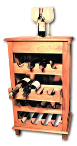 Teak wine bar storage rack in Seattle: Roots Hardwood Furniture & Tile