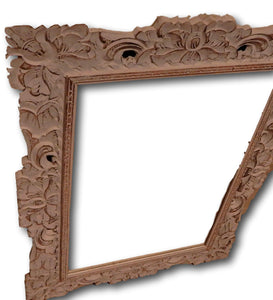 Wall mirror hand carved from Reclaimed wood