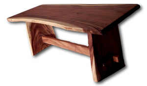 Table handcrafted from solid Suar wood slab