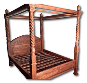 Teak carved canopy 4 post bed in Hollywood | Roots Hardwood Furniture & Tiles