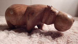 Hippo handcrafted from Seringa wood