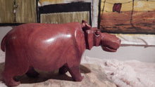 Hippo handcrafted from Mukwa wood