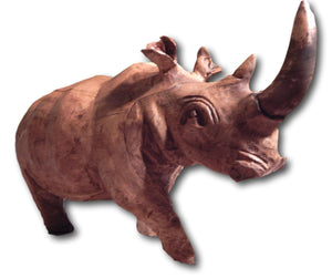 Rhino sculpture handcrafted from Seringa wood