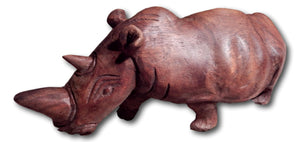 Rhino hand carved from Mukwa wood
