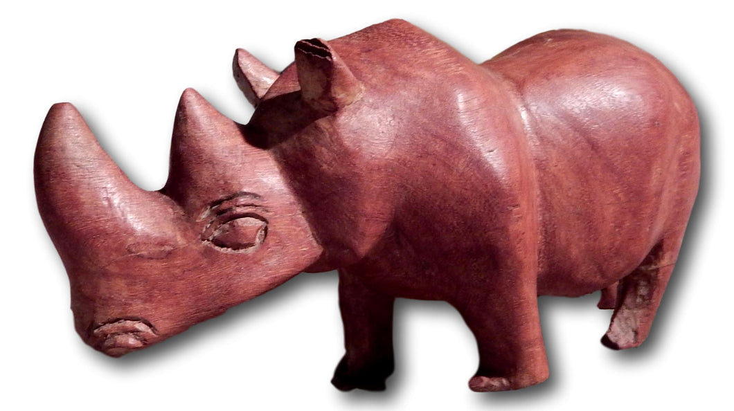 Rhino sculpture from Mukwa wood