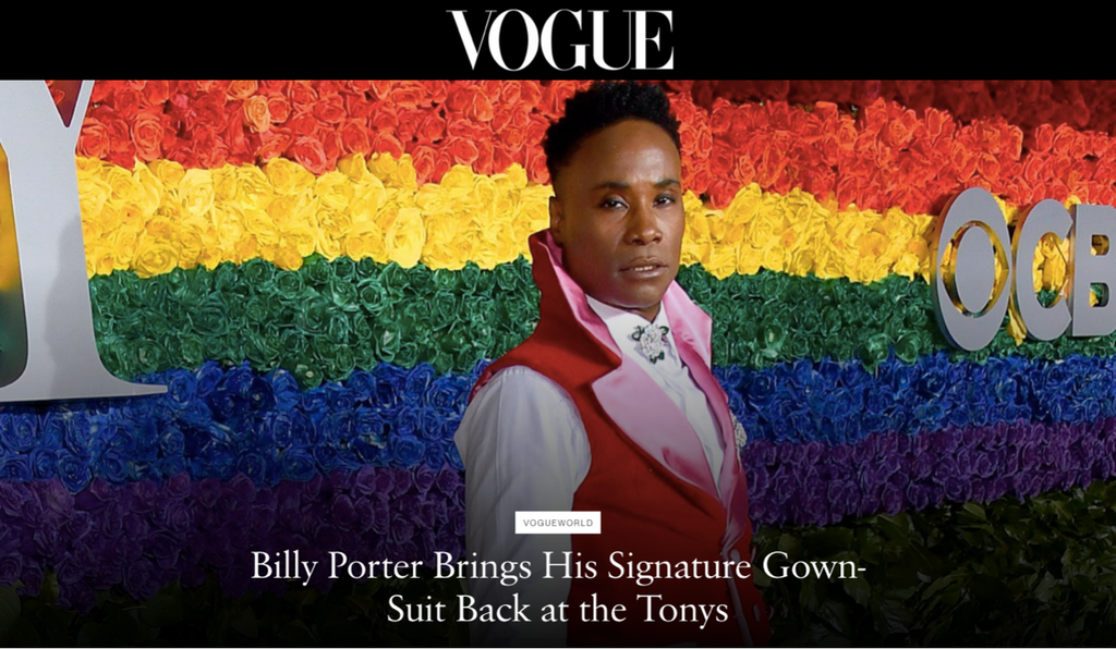 Celestino in the Press - Billy Porter in Curtain Couture at the Tonys