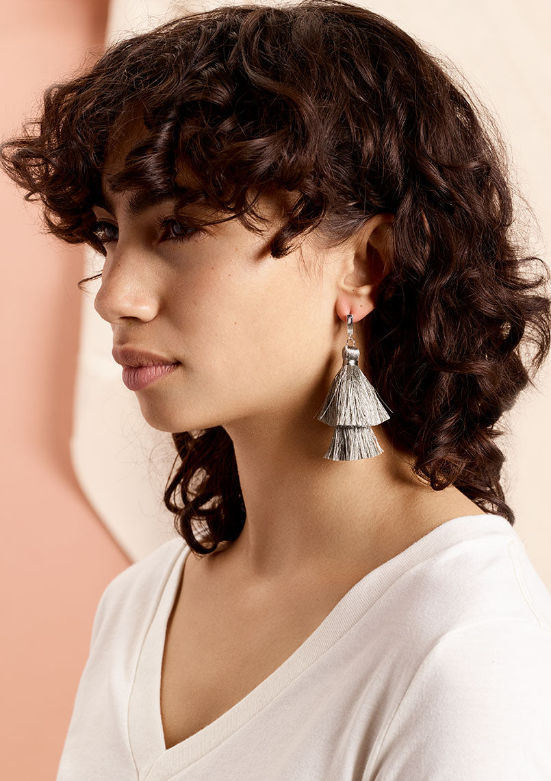 Amelia Double Stacked Tassel Earrings