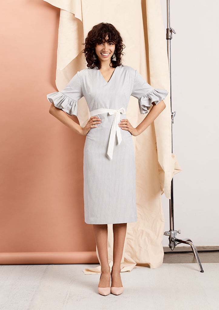 The Ruffle-Sleeve Column Dress
