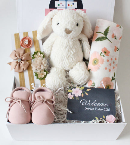 A floral and bunny baby girl gift box