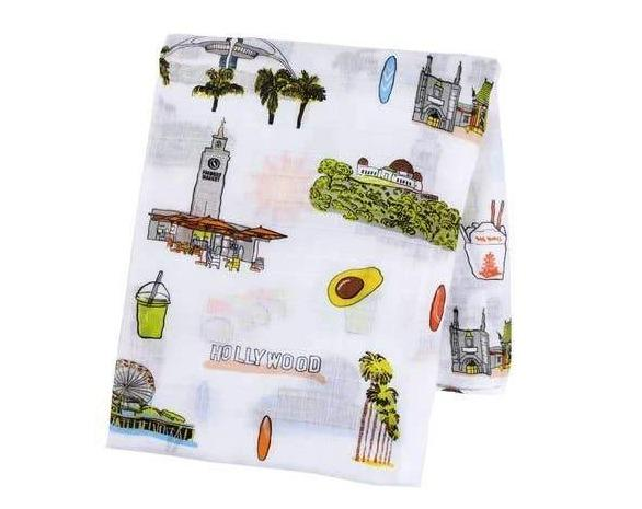 Los Angeles Baby Swaddle Blanket-The Baby Gift People