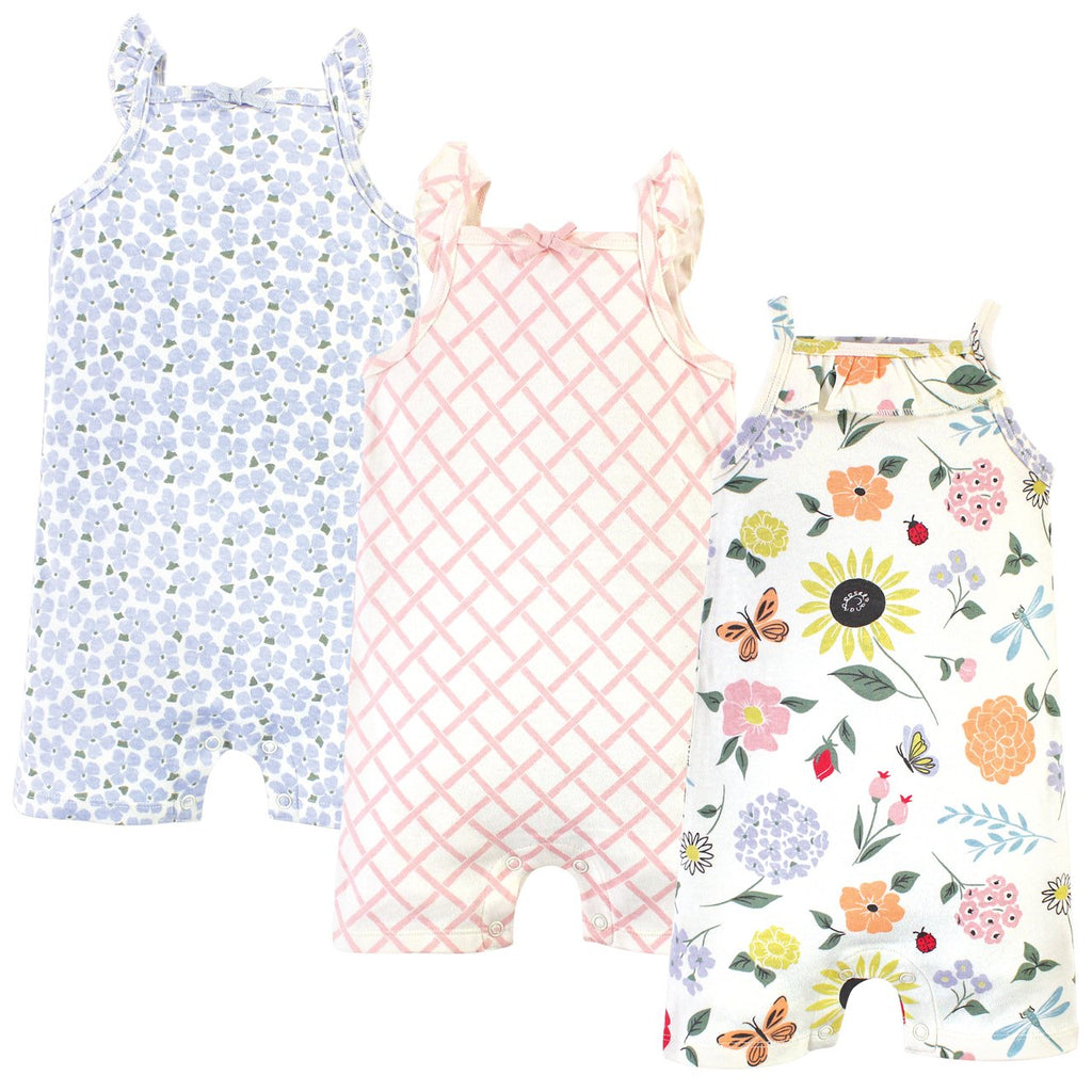 Organic Cotton Rompers, Flutter Garden-The Baby Gift People