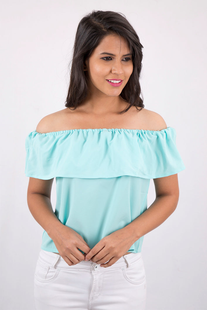 Blue Off-Shoulder Top
