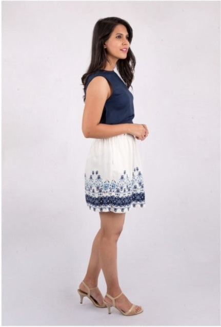Blue & White Printed Skirt