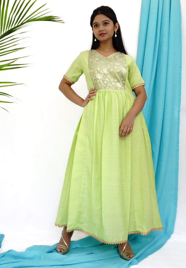 Green Maxi Dress With Brocade Bodice & Gold Details