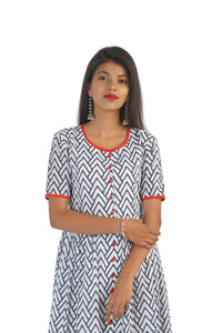 Cotton Red & Blue Kurta Dress