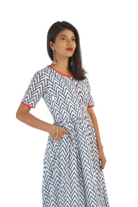 Classic Cotton Red & Blue Kurta Dress