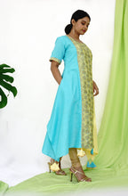 Yellow & Blue Tri-panelled Kurta With Asymmetrical Hemline