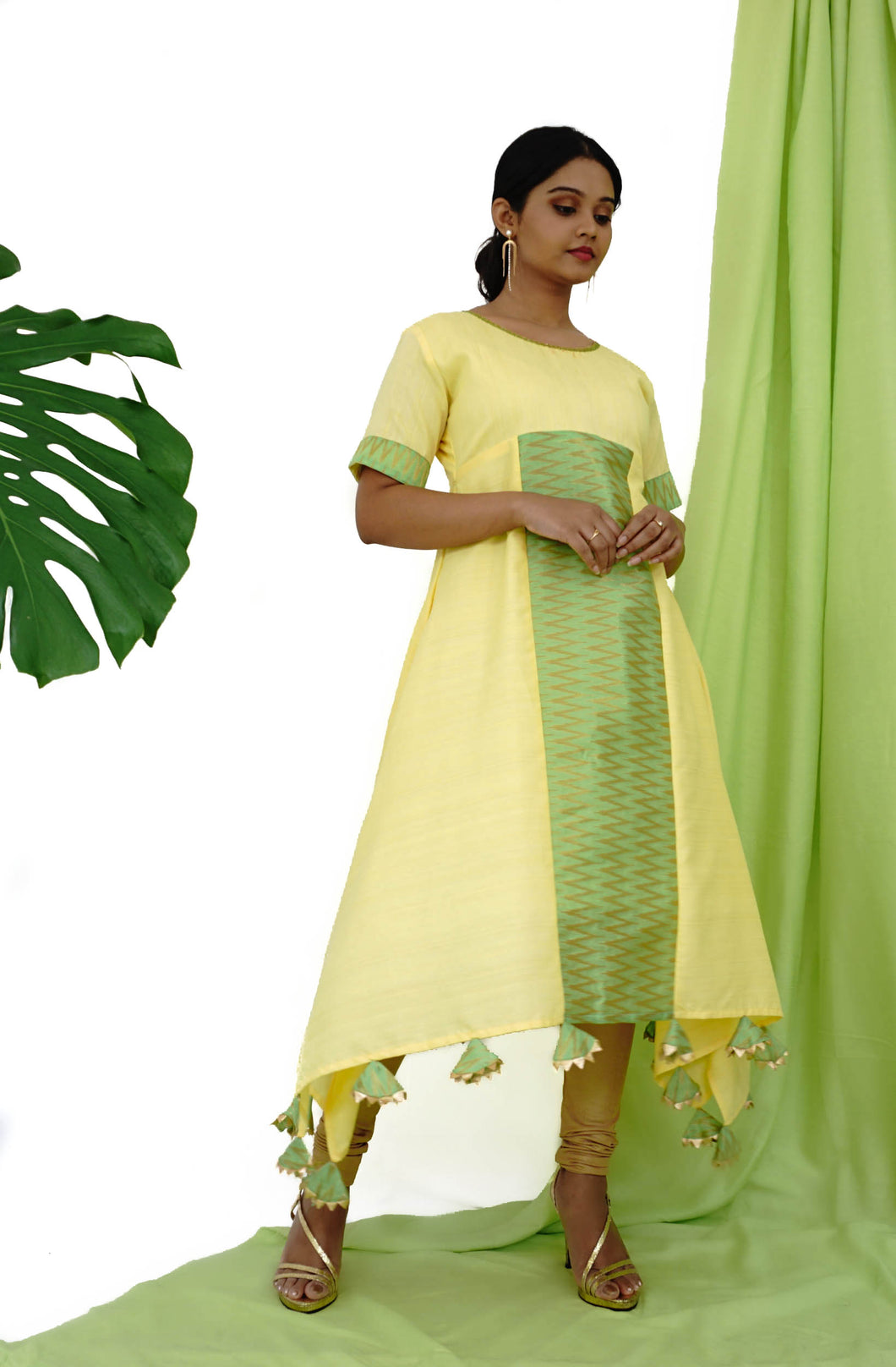 Yellow & Green Asymmetrical Kurta With Tassel Details