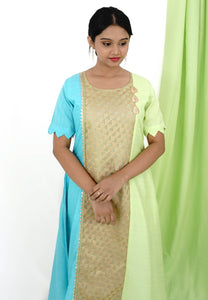 Blue, Green & Gold Tri-Paneled Kurta With Tassel Details