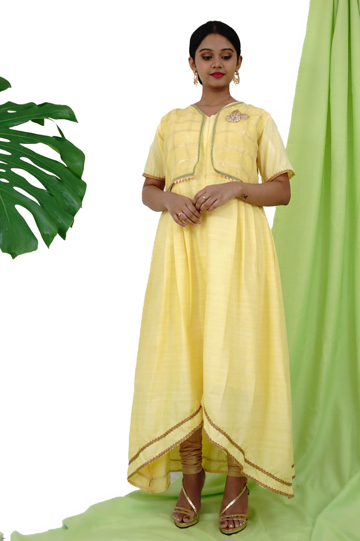 Yellow Asymmetrical Kurta With Attached Chanderi Jacket