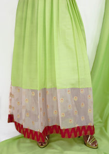 Green Maxi Dress With Sheer Pink Organza Border
