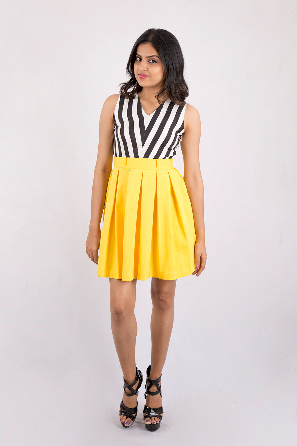 Stripes and Yellow Dress
