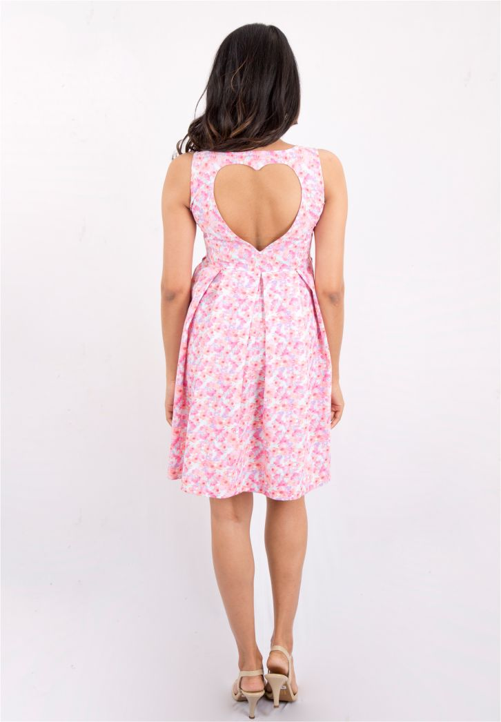 Heart Cut-Out Floral Dress