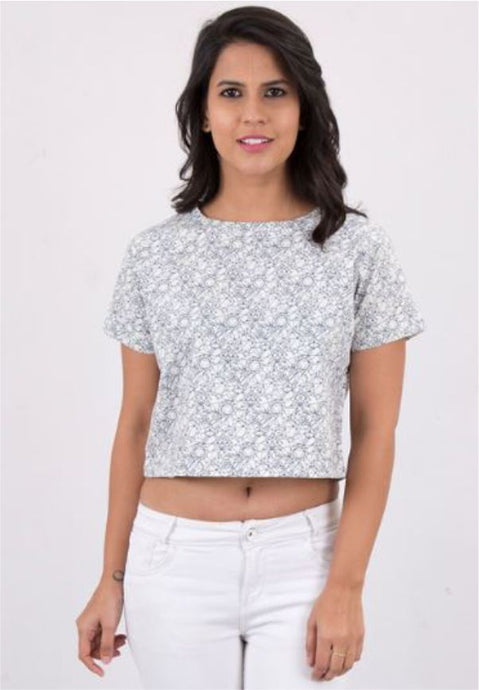Geometric Printed Crop Top