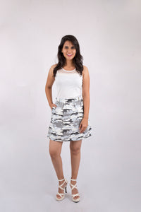 Grey and White Camo Skirt