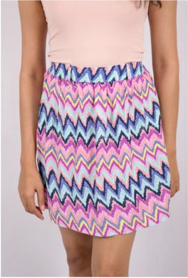 Multi Color Chevron Skirt