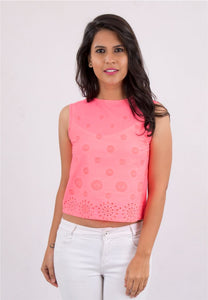 Neon Pink Cotton Crop Top