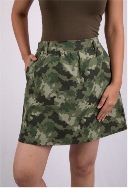 Olive Green Camo Skirt