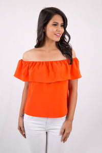 Orange Off - Shoulder Top