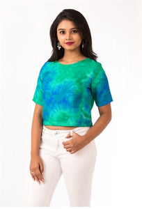 Peacock Batik Crop Top