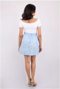 Powder Blue Printed Skirt
