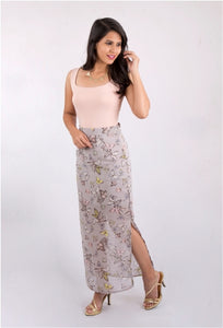 Grey Printed Maxi Skirt