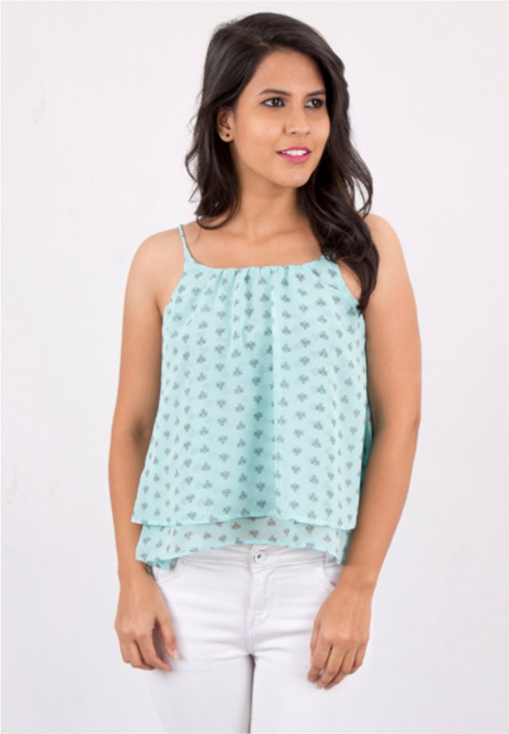Blue Printed Spaghetti Top