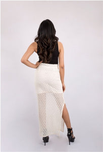 Off White Crochet Maxi Skirt