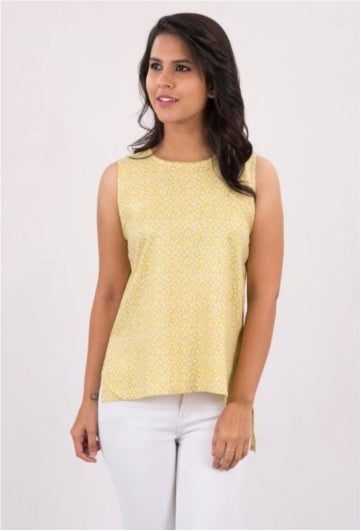 Yellow High- Low Tank Top