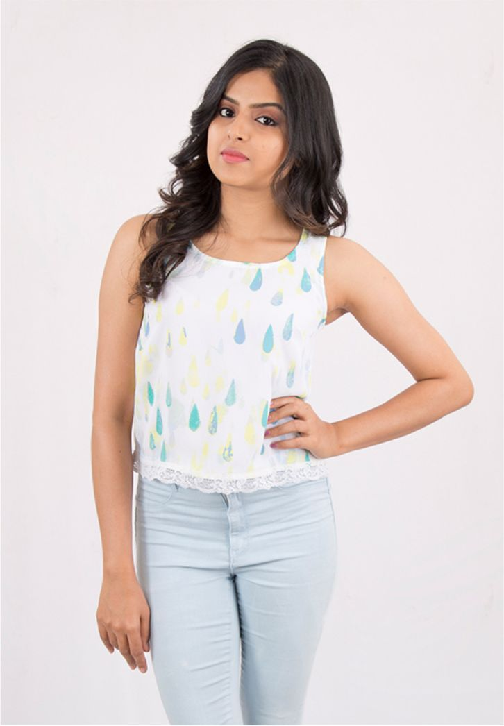 Printed Tank Top with Lace Hem
