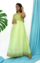 Green Ginger Silk Blend Anarkali With Brocade Bodice