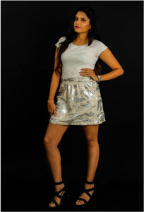 White X Metallic Skirt