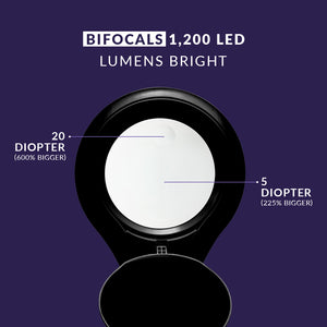 Bifocals 1,200 Lumens Super LED Magnifying Floor Lamp - Black