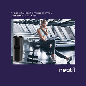 NeatFi Floor Standing Stainless Steel Gym Wipe Dispenser - Plus Wipe Holding Bucket (Black)