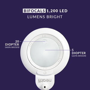 "6"" Wide Lens XL Bifocals 1,200 Lumens Super LED Magnifying Lamp - White"