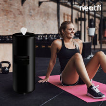 Load image into Gallery viewer, NeatFi Floor Standing Stainless Steel Gym Wipe Dispenser - Plus Wipe Holding Bucket (Black)